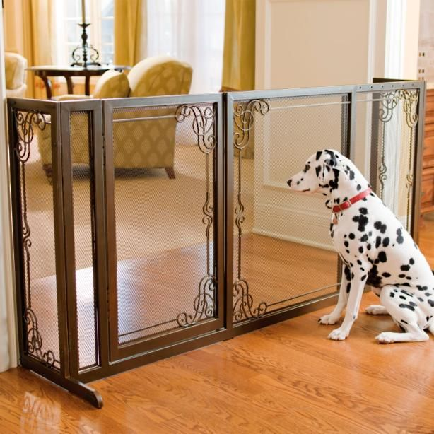 """34""""H Expandable Free-standing Steel Mesh Pet Gate"""