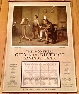 """Antiquité 1946 Collection. Calendrier """"The Montreal Savings Bank"""