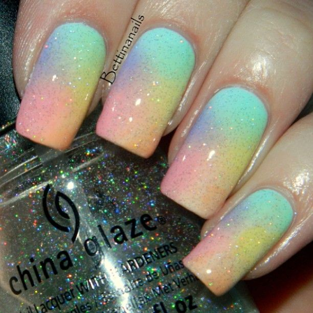 Pastel rainbow gradient by bettinanails  #nail #nails #nailart