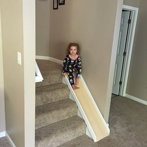 Check out this project on RYOBI Nation - I built this stair slide mainly out of scraps from another project. It was a quick, easy build and my kiddos love it. The top of the slide is covered with adhesive paper that looks like wood, so we don't have to worry about splinters.