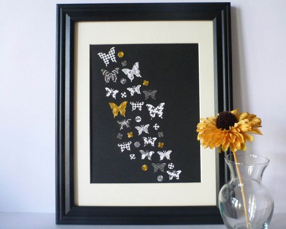 Butterfly Paper Wall Art  Black White with Pops by 1981Collective