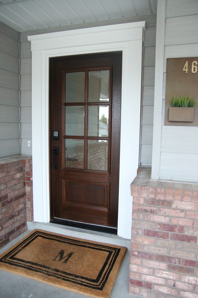 Before And After Our New Front Door Exterior Front Doors Exterior Door Trim Stained Front Door