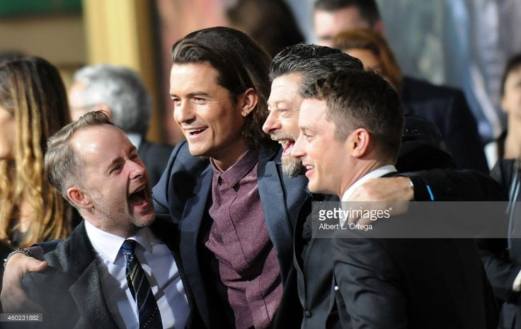Actor Billy Boyd, Orlando Bloom, Andy Serkis and Elijah Wood arrive for Premiere Of New Line Cinema, MGM Pictures And Warner Bros. Pictures' 'The Hobbit: The Battle Of The Five Armies' held at Dolby Theatre on December 9, 2014 in Hollywood, California.