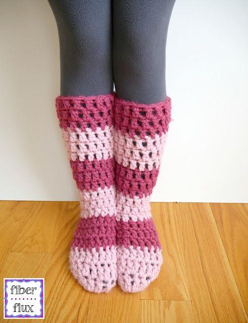Free Crochet Pattern: Strawberry Blossom Slipper Socks. Also More Beautiful Patterns From Fiber Flux