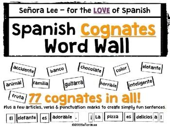 77 Spanish Cognates to display as a word wall (or on a bulletin board) to begin building a strong foundation of easy to learn vocabulary words. Big and bold, black and white bricks that  are easily read from the back of the room. Each brick is 2.5 inches tall with varying lengths.