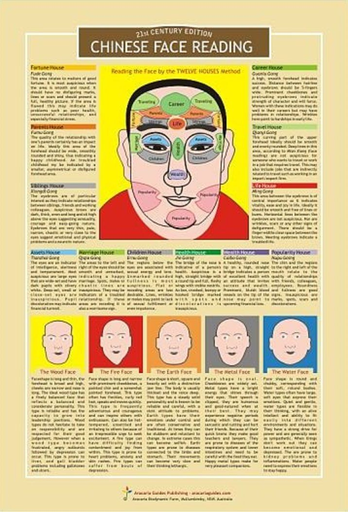 Physiognomy - Chinese Face Reading Chart