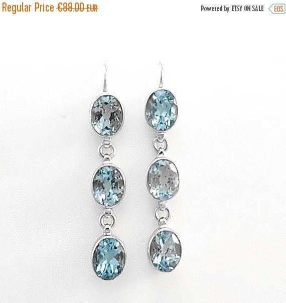Sterling silver blue topaz earrings Long dangle earrings Modern boho chic jewelry Blue dangle earrings by Freesize