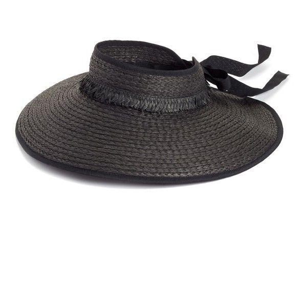 Women's Nordstrom Fringed Straw Sun Visor (1.995 RUB) ❤ liked on Polyvore featuring accessories, hats, black, bow hat, crown hat, wide brim sun visor hat, straw visor hat and wide brim sun visor