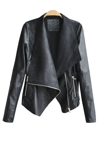 Waterfall Asymetric Leather Jacket