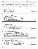 Get practice using a ruler with this fun measurement worksheet. Kids measure all the different shoes to see if they can figure out which one belongs to Sam.