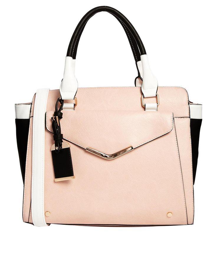 Image 1 ofDune Suki Nude Handbag With White Trim