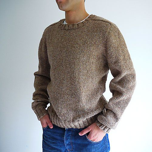 Available in the shop and to buy on ravelry: Top-down Seamless Men's Saddle Shoulder Sweater pattern by Kyoko Nakayoshi.  Uses an Aran weight yarn