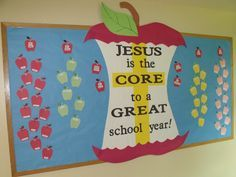 My first bulletin board of the new school year! August/September 2015. The small student apples will have pics on them after school starts and I can take the pics. I didn't want to post student pics on Pinterest. :) We are a small Lutheran Christian school.