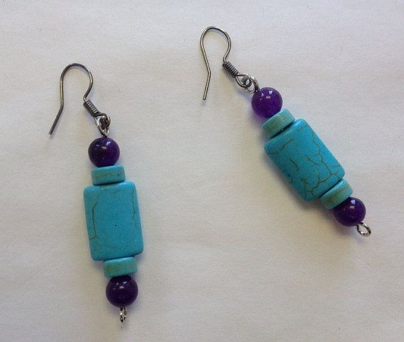 Turquoise Amethyst Earrings Teal Purple by StarBoundWestern