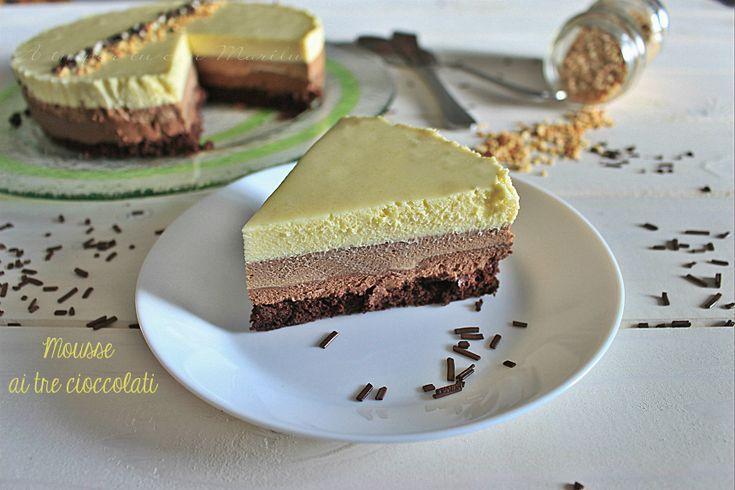 Torta+mousse+ai+tre+cioccolati