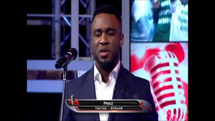 "Praiz singing the Nigerian national anthem on ""Thursday night live with ..."