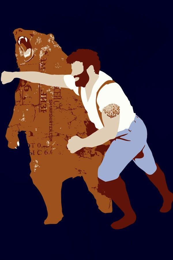 BEST TSHIRT EVER. Man Punching Bear Men's Large. $21.00, via Etsy.