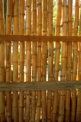 Flexible bamboo fencing is made from panels of bamboo that have been wired together through the center. The panels typically come rolled up for easy transportation. Although they are often used as an eco-friendly and affordable way to cover an old wooden or chain-link fence, the bamboo panels can be attached to a basic wood fence frame as well. The flexible fencing lends an exotic feel to your backyard garden while creating a privacy barrier.