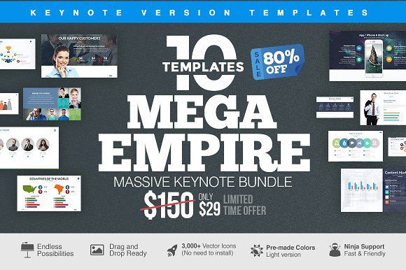 MEGA EMPIRE Keynote Bundle by Slidedizer on @creativemarket