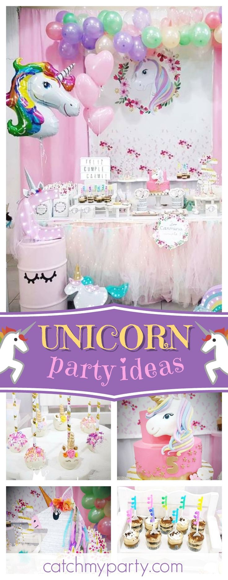 Be blown away by this pretty Unicorn birthday party! The birthday cake is gorgeous!! See more party ideas and share yours at CatchMyParty.com #partyideas #unicorns