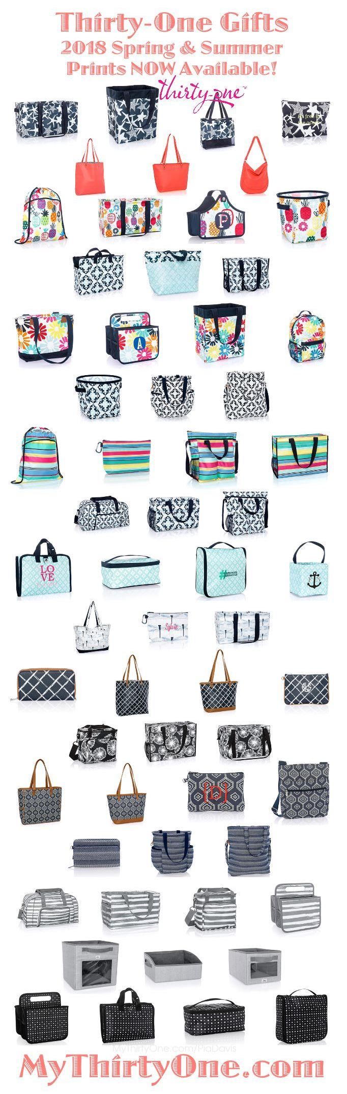 #31 Thirty-One Gifts NEW PRINTS for 2018 Spring and Summer. Check out Fab Flourish, Sparkling Squares, Dragonfly Daze, Navy Starfish Splash, Dotty Hexagon, Woven Stripe, Midnight Navy Pebble, Dash of Plaid Pebble that go along well with current colors. Find these prints and others at MyThirtyOne.Com/PiaDavis or find your consultant in the upper right corner of the website.