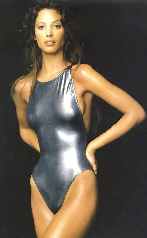 Christy Turlington for Calvin Klein. Supermodel. Silver swimsuit