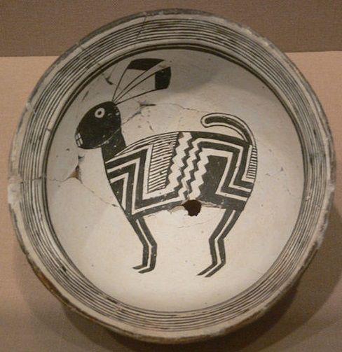 Mimbres Bowl with rabbit, AD 1000–1150. The Mimbres, a subgroup of the Mogollon culture, are especially notable for the narrative paintings on their pottery. American southwest.
