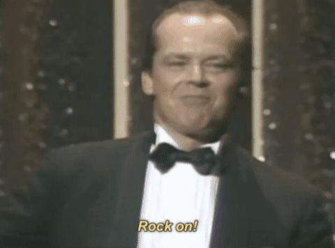 New party member! Tags: oscars academy awards jack nicholson acceptance speech rock on oscars 1984