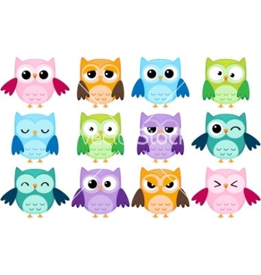Cartoon owls vector on VectorStock®
