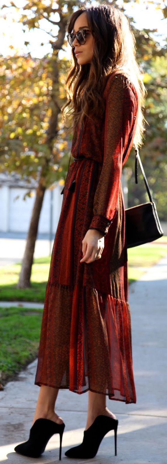 Burgundy Boho Maxi Dress Black Cute Mules by Ring My Bell