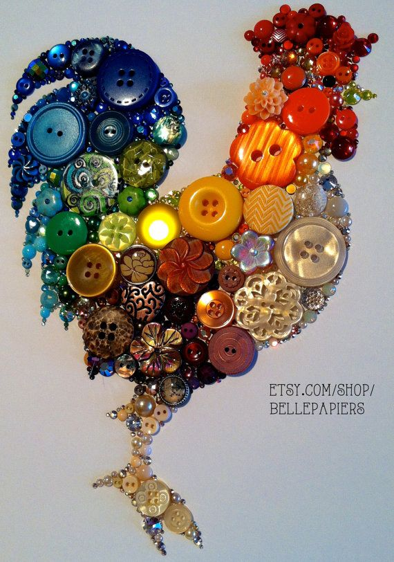 9x12 Kitchen Rooster Kitchen Art Buttons And By