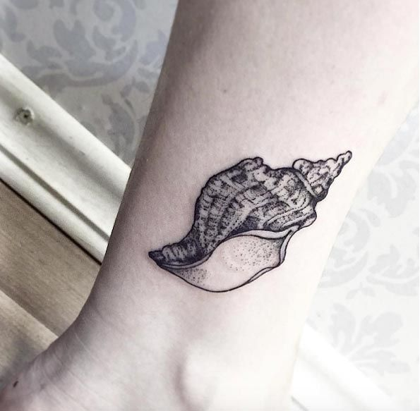 Conch Shell Tattoo by Sandra Cunha