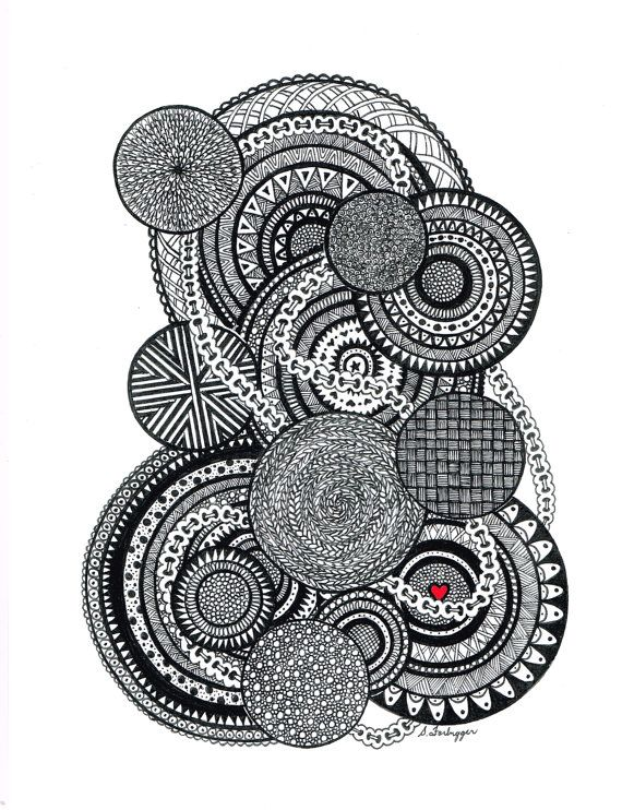 Black and white zentangle abstract drawing original art print