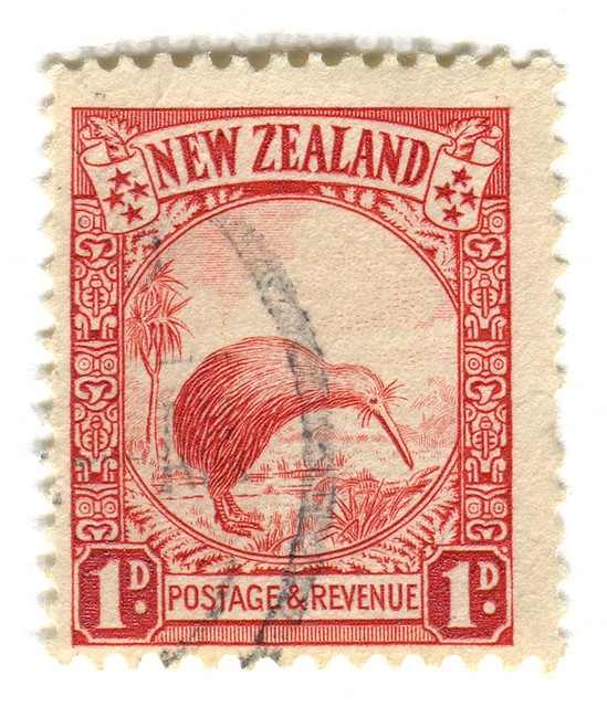 Kiwi postage stamp - old currency - 1 Penny !! Kiwi: overprinted 'Official', issued March 1936 New Zealand has more varieties of flightless birds than any other country, the kiwi is one. The bird is unique - its nostrils are placed at the end of its beak its nasal passage is more complicated than that of any other bird. Although most bird's sense of smell is usually small, that of the kiwi's is high. It is nocturnal, issues loud whistling cry, sniffs audibly when hunting food.
