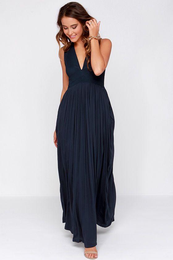 Navy blue maxi dress pinterest