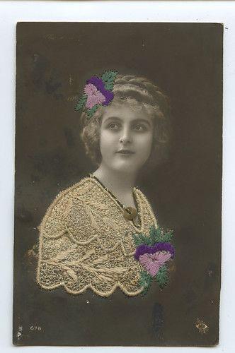 Embroidered Silk Photo Edwardian Glamour Lady Original 1910s Postcard