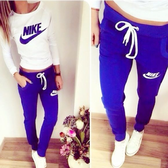 Nike black white sweat suit small NEW brand new Nike black and white nike sweat suit small. Cropped sweat pants. White sweatshirt. 1 black white left. 0 blue and white left. Nike Pants Track Pants & Joggers