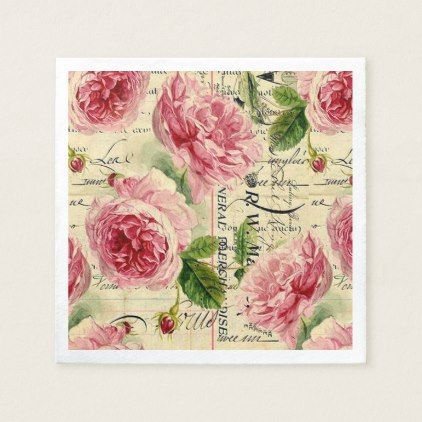 Vintage pink rose floral garden party napkins - home gifts ideas decor special unique custom individual customized individualized