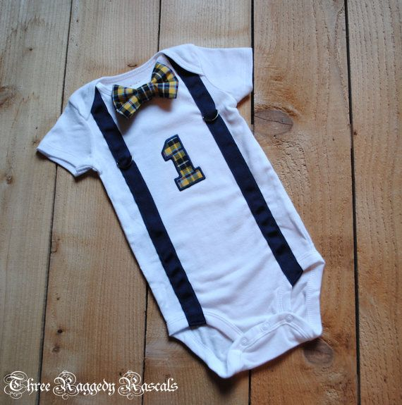 DETAILS ❤ Faux suspenders and the embroidered Number 1 make this onesie the  perfect accessory