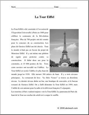 French: Compréhension de lecture n/b—la Tour Eiffel - preview 1
