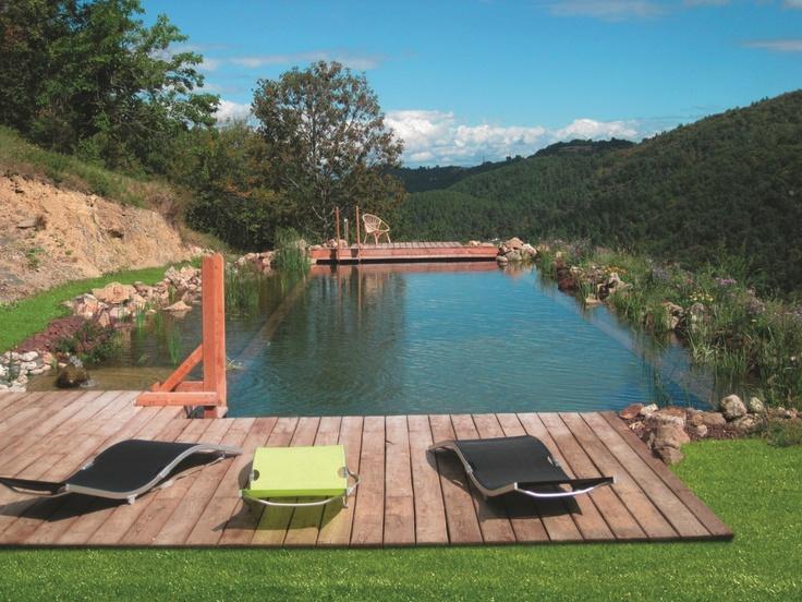 #piscine naturelle et #terrasse en bois