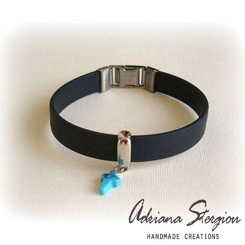 men's black rubber bracelet  www.jewelmyday.eu #jewelry, #men, #bracelet