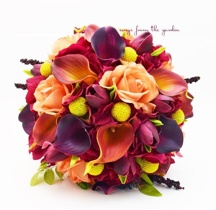Fall Wedding Bridal Bouquet Calla Lilies Tulips Hydrangea Craspedia Roses Hops