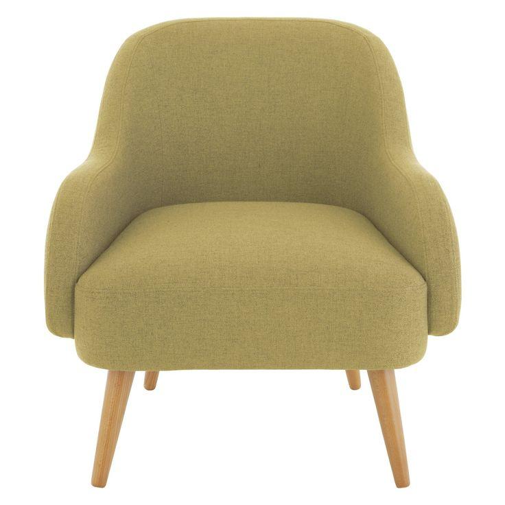 MOMO Yellow textured woven fabric armchair