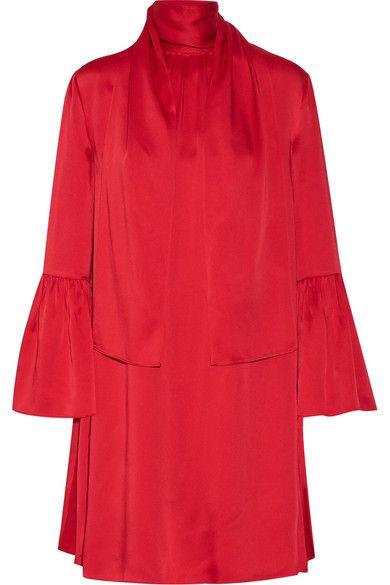 FENDI Pleated Washed-Satin Mini Dress. #fendi #cloth #dresses