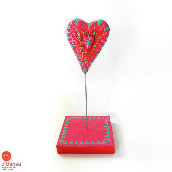 Papier mache red-fuschia-turquoise heart on by EfthimiaPapierMache