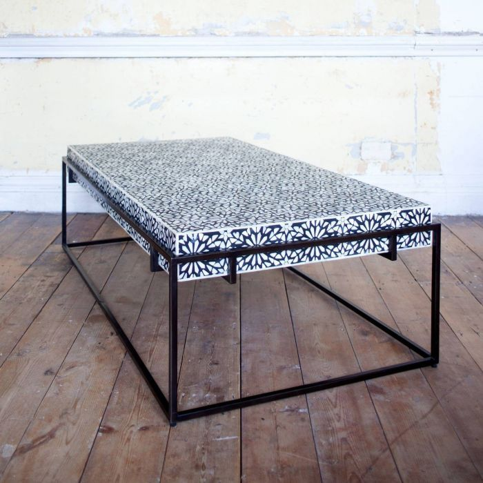 Miles Black And White Bone Inlay Coffee Table Graham Green