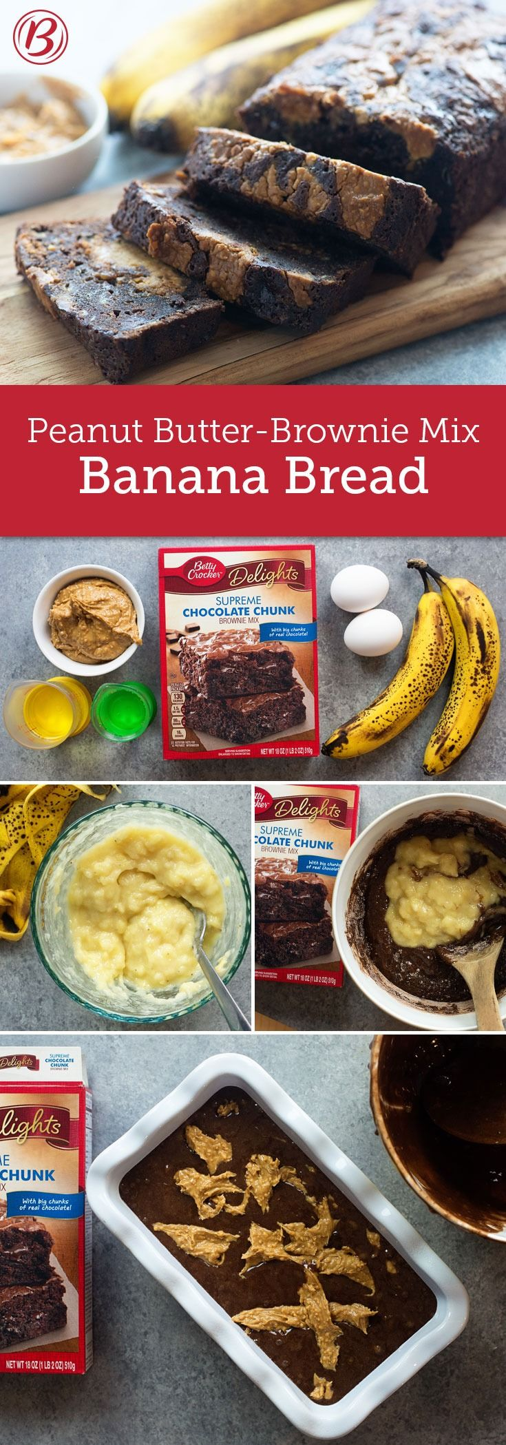 Banana bread is made even better with a fudgy brownie base and a thick swirl of peanut butter.  Soften peanut butter in microwavable bowl in microwave 15 seconds to make it easier to swirl into batter.