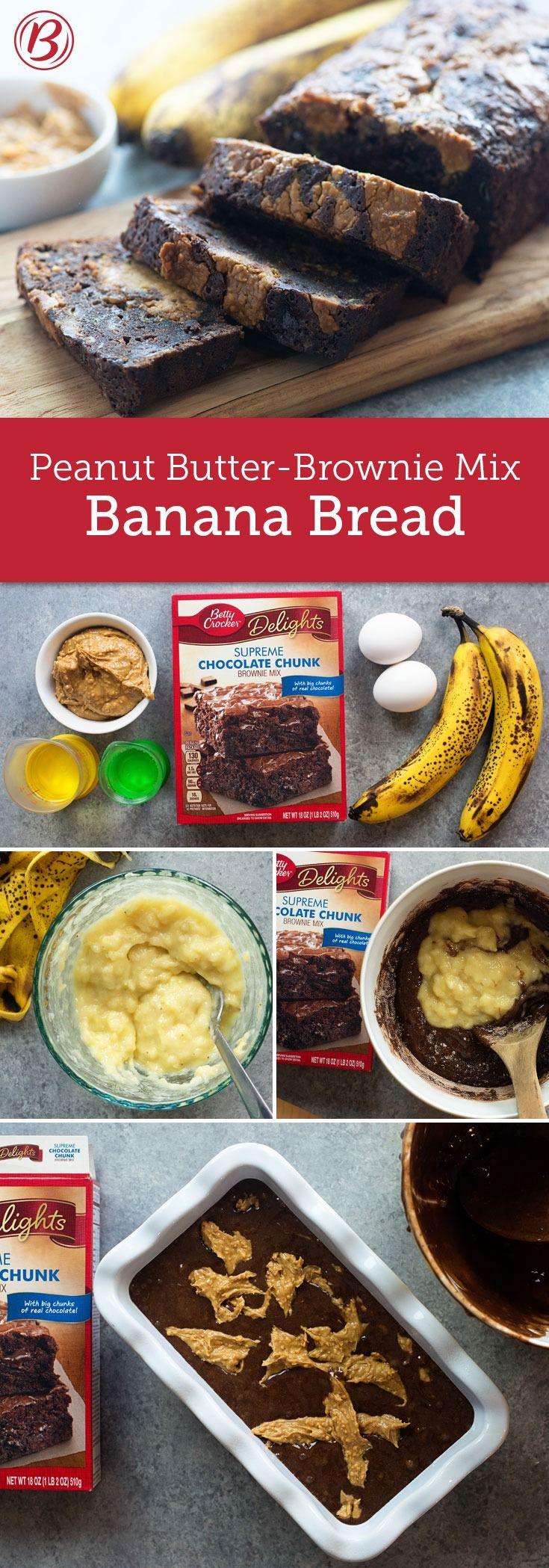 Peanut Butter-Brownie Mix Banana Bread