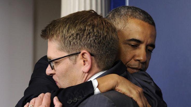 Obama says goodbye to White House press secretary